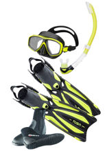 tusa solla fins, ceos freedom mask, plating snorkel