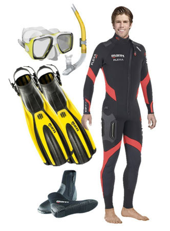 mares, pioneer wetsuit, super channel fins, ng boots, ergo flex snorkel