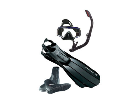 tusa ten fins, Visio mask, hyperdry snorkel, classic ng boots, pro-dive, prodive,