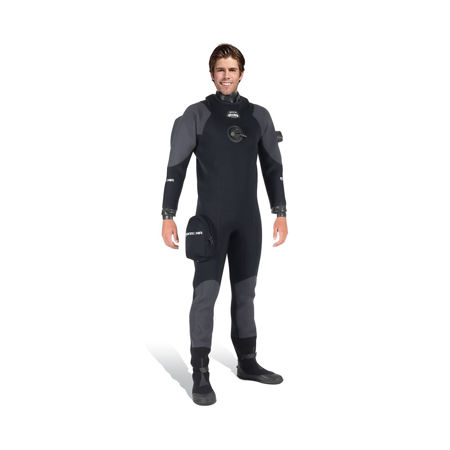 The Mares XR3 Neoprene Drysuit With Latex Seals, The XR line's entry level neoprene drysuit, the XR3, includes latex neck and wrist seals, graphite protection on knees, shoulders and posterior and offers great flexibility.